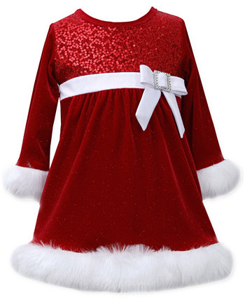 Baby Girls' Sequin Bodice Santa Dress Bonnie Baby