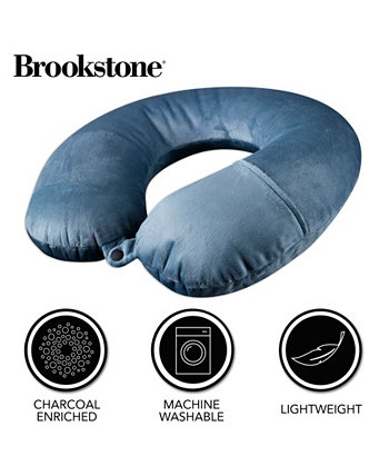 Charcoal-Infused Memory Foam Travel Neck Pillow BROOKSTONE