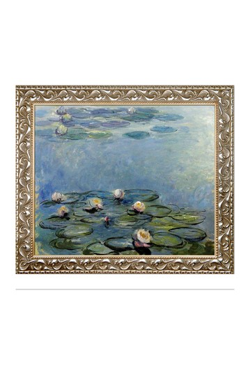 "Water Lilies (Blue/Grey) with Rococo Silver , 25.5"" x 29.5"" No brands"