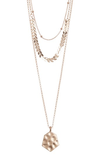 Gold-Tone Link & Hammered Coin Triple Layered Necklace AREA STARS