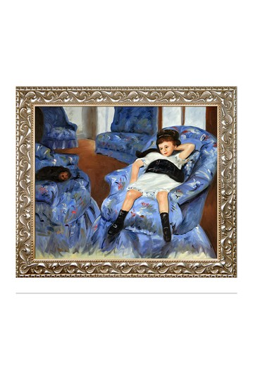 """Little Girl in a Blue Armchair with Rococo Silver , 25.5"""" x 29.5"""" No brands"""
