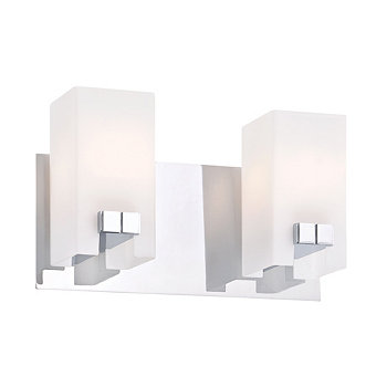 Gemelo Vanity - 2 Light White Opal/ Chrome Finish ELK Lighting