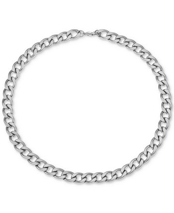 "INC Men's Stainless Steel Curb Link 24"" Chain Necklace, Created for Macy's INC International Concepts"