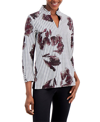 Petite Printed Split-Neck Top, Created for Macy's Alfani