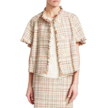 Short Sleeve Tweed Jacket Akris punto