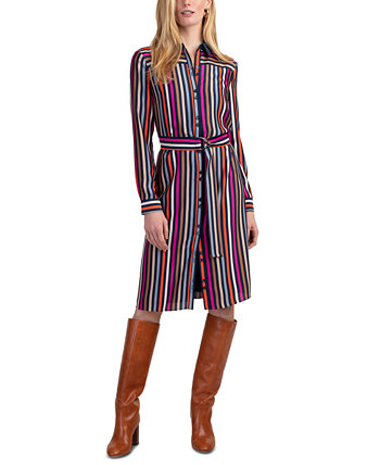 Lamarr Striped Satin Shirtdress Trina Turk