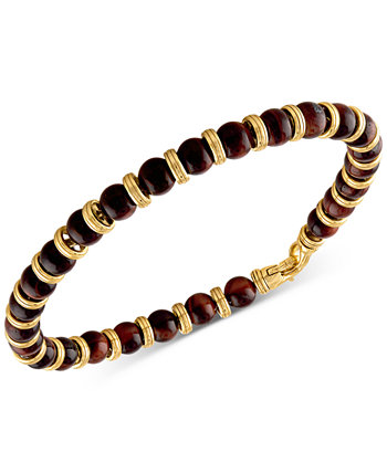 Red Tiger Eye Bead Bracelet in 14k Gold-Plated Sterling Silver, Created for Macy's Esquire Men's Jewelry