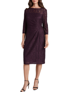 Side Ruched Stretch Beaded Lace Cocktail Dress Tahari by ASL