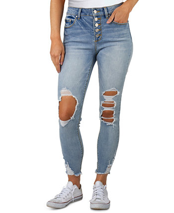 Juniors High Rise Distressed Button-Fly Jeans Indigo Rein