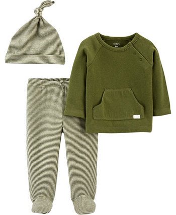 Carters Baby Girl 3-Piece Tee & Footed Pant Set Carters