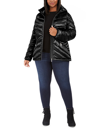 Plus Size Hooded Packable Puffer Coat, Created for Macy's Calvin Klein