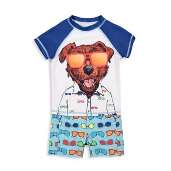 Baby Boy's 2-Piece Dog-Print Top & Shorts Rashguard Set Andy & Evan