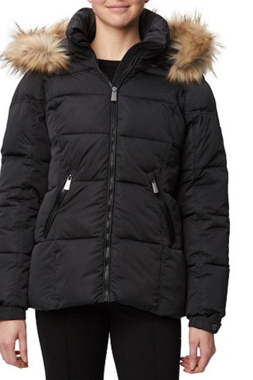 Horizontal Quilted Faux Fur Trim Thermoluxe Jacket Rainforest