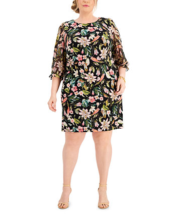 Plus Size Printed Sheath Dress Connected
