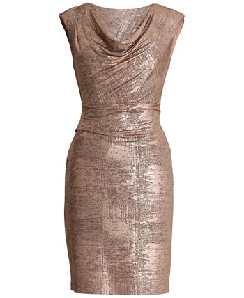 Petite Metallic Cowlneck Sheath Dress Connected