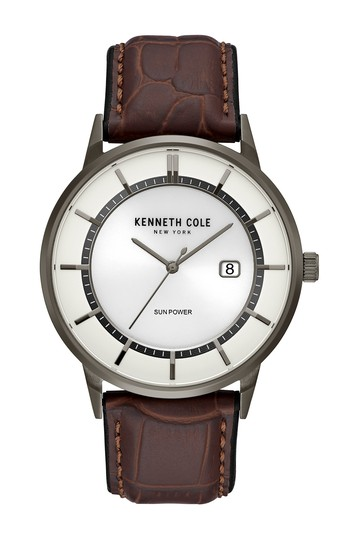 Men's Solar Leather Strap Watch, 42mm Kenneth Cole New York