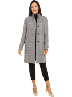 Wool Plaid Stand Collar Jacket Cole Haan