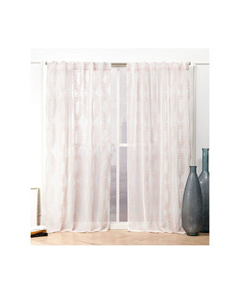 """Odense Sheer Abstract Hidden Tab Top Curtain Panel Pair, 54"""" X 84"""" Nicole Miller"""