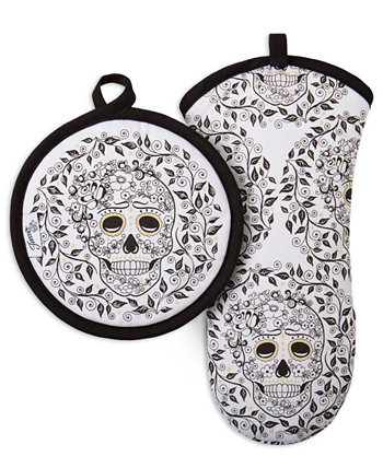 Skull & Vine 2-Pc. Oven Mitt & Pot Holder Set FIESTA