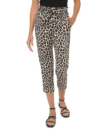 Plus Size Leopard-Print Paperbag Belted Cropped Pants Michael Kors
