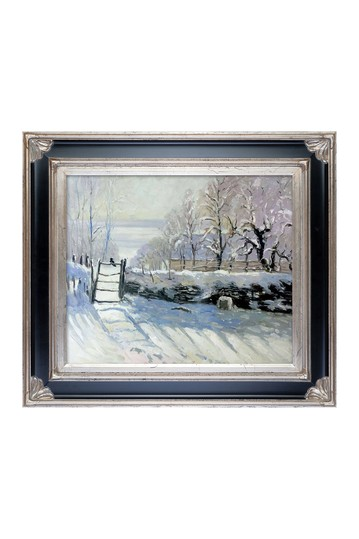 """The Magpie with Corinthian Aged Silver Frame , 30"""" x 34"""" No brands"""