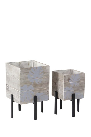Brown Rustic Rectangular Standing Planter - Set of 2 Willow Row