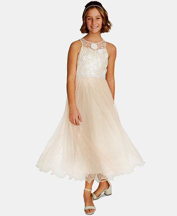 Big Girls Embroidered Mesh Gown Rare Editions