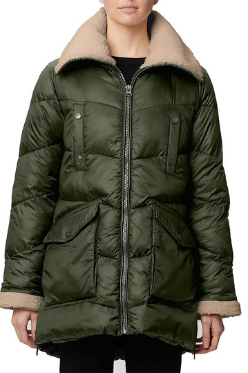 Recycled Nylon Cire Quilted Faux Shearling Trim Thermoluxe Puffer Jacket Rainforest