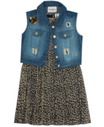 Little Girl Printed Pleated Dress With Denim Vest Rare Editions