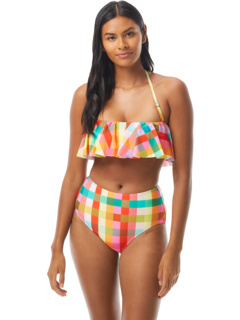 Garden Plaid Ruffle Bandeau Top w/ Removable Soft Cups and Strap Kate Spade New York