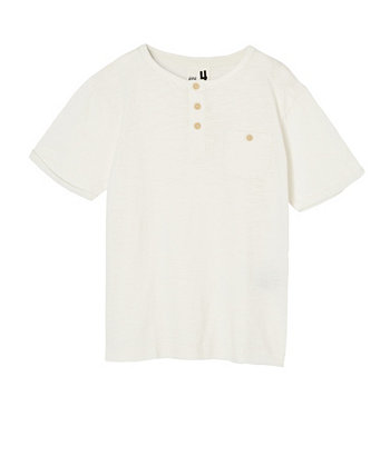 Big Boys Madden Short Sleeve Henley Loose Fit Tee COTTON ON