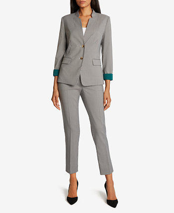 Checkered Contrast-Cuff Pants Suit Tahari by ASL