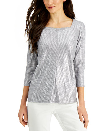 Metallic Square-Neck Top, Created for Macy's J&M Collection