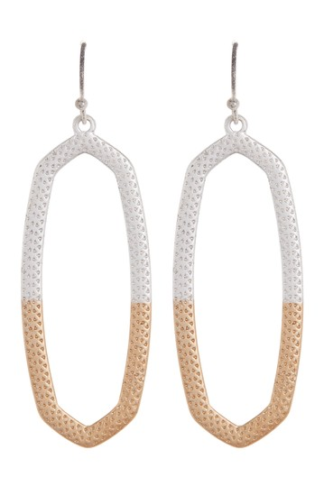Oblong Two Tone Drop Earrings AREA STARS