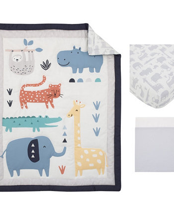 Modern Jungle Pals Sloth, Hippo, Elephant, Giraffe 3 Piece Crib Bedding Set Carters