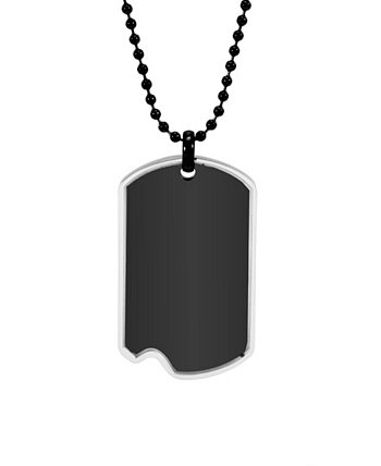 Men's Black Plated Stainless Steel Dog Tag with Steel Frame Necklace Eve's Jewelry