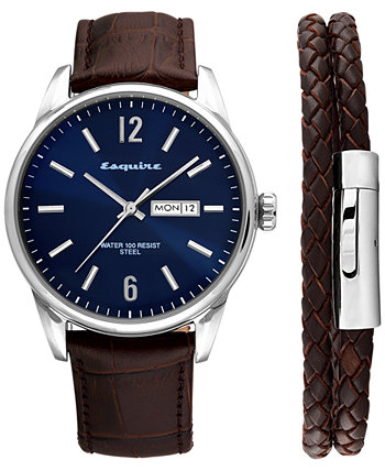 2-Pc. Set Brown Leather Strap Watch 40mm & Woven Leather Wrap Bracelet, Created for Macy's Esquire Men's Jewelry