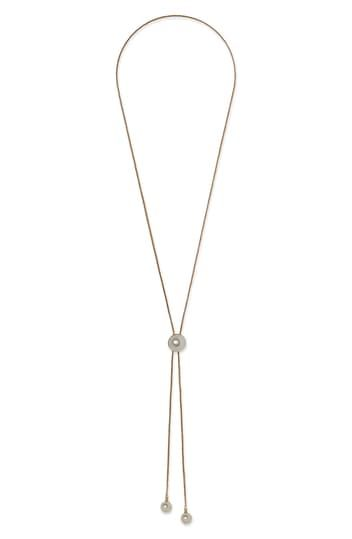 Glass Pearl Y-Drop Lariat Necklace Vince Camuto