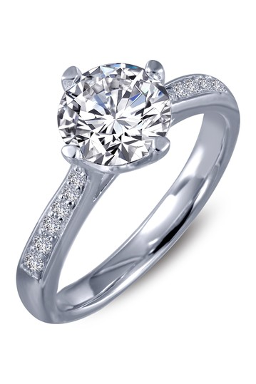 Platinum Plated Sterling Silver Simulated Diamond Micro Pave Solitaire Ring LaFonn