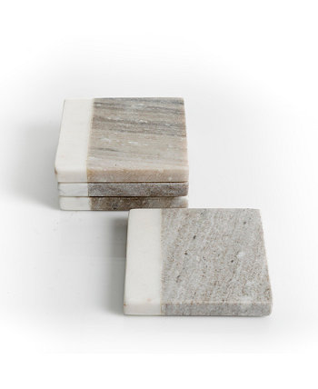 Gray & White Marble Coaster Set Laurie Gates