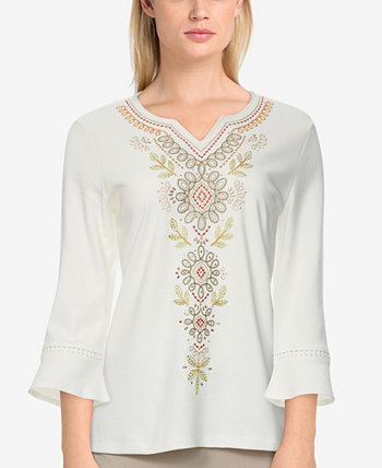 Petite Size San Antonio Embroidered Bell Sleeve Top Alfred Dunner