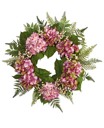 "24"" Pink Hydrangea & Berry Artificial Wreath NEARLY NATURAL"
