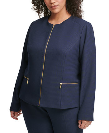 Plus Size Collarless Zip-Detail Jacket Calvin Klein