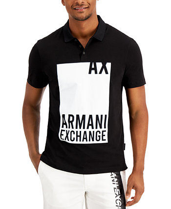 Men's Regular-Fit Block Graphic Polo Shirt, Created for Macy's Armani Exchange