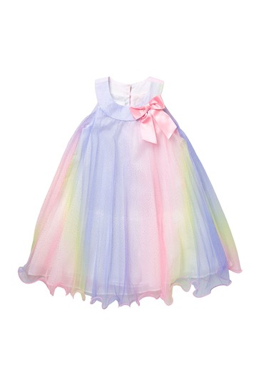 Rainbow Pleated Bow Dress (Toddler Girls) GERSON & GERSON