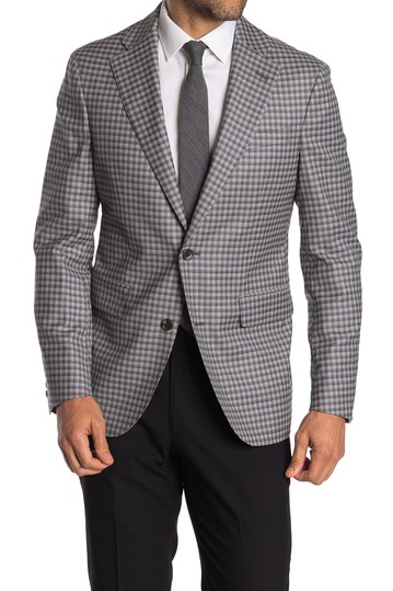 Grey Check Two Button Notch Lapel Stretch Wool Sport Coat Strong Suit