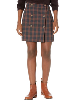 Double-Breasted Plaid Miniskirt in Navy Madewell