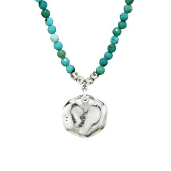 Mixed Turquoise & Sterling Silver Pendant Beaded Necklace Chan Luu