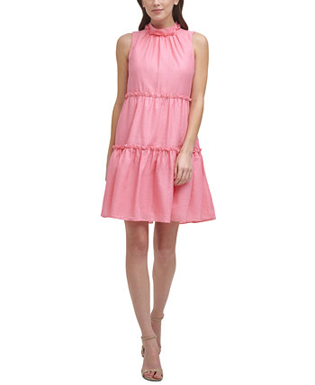 Petite Mock-Neck Tiered Baby-Doll Dress Vince Camuto