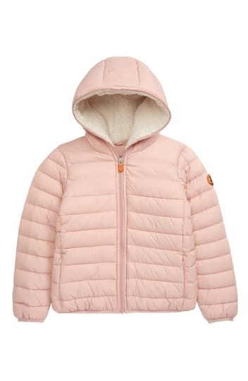 Water Resistant Faux Shearling Lined Hooded Jacket Save the Duck